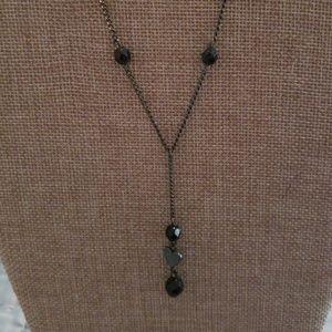 Black Beaded Heart Necklace
